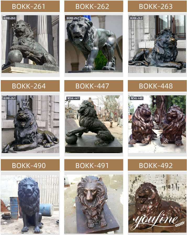 antique bronze lion statue
