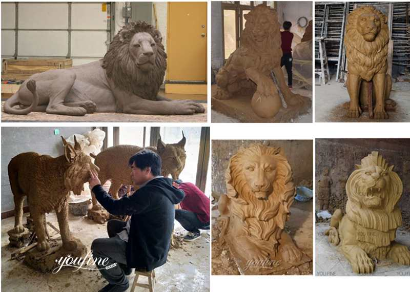 lion statue clay molds