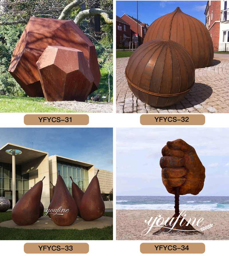 rusty metal garden sculptures
