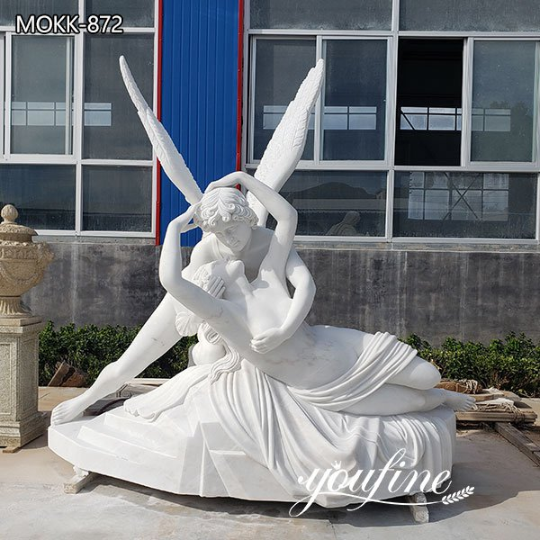 Classic White Marble Cupid and Psyche Statue Garden Decor for Sale