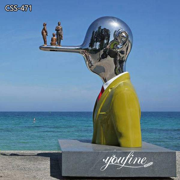 Modern Abstract Stainless Steel Sculpture Seaside Decor for Sale