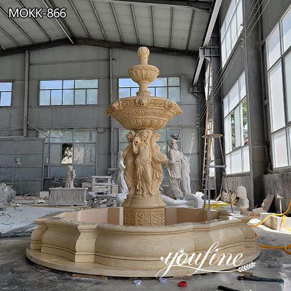 Outdoor Beige Marble Garden Statue Fo