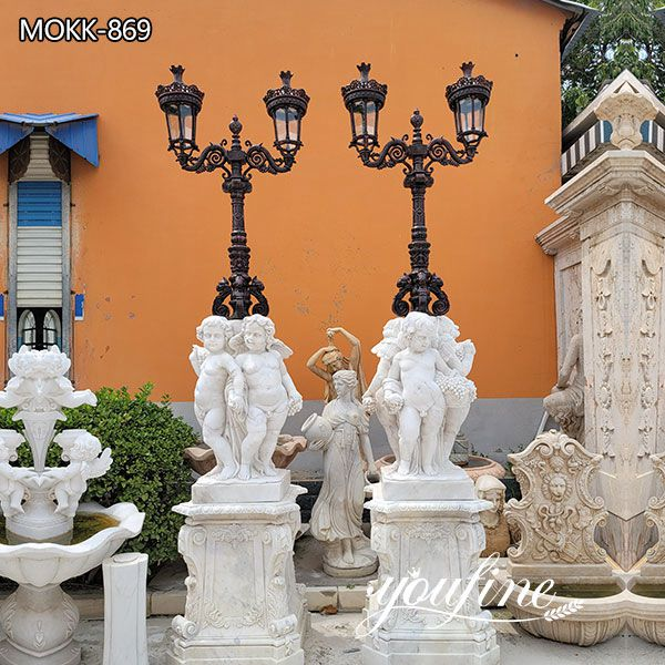 Outdoor Marble Cherubs Statue Lamp Manor Decor for Sale