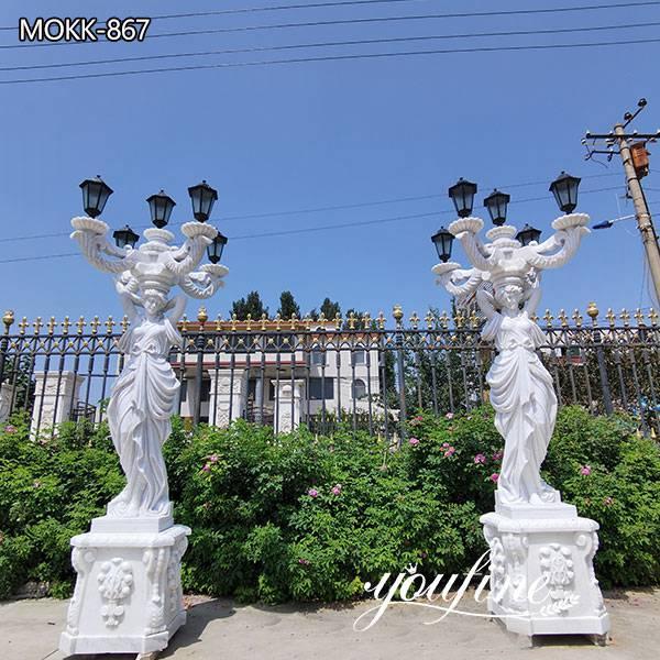White Marble Statue Lamp Garden Decor for Sale