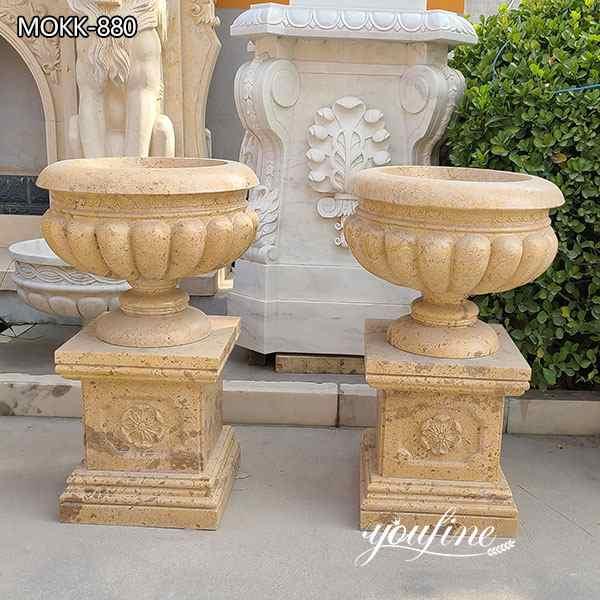 Customize Beige Marble Planter Pots Garden Decor Wholesale