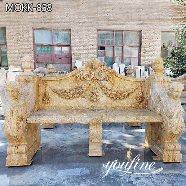 Hand Carved Outdoor Marble Garden Bench for Sale