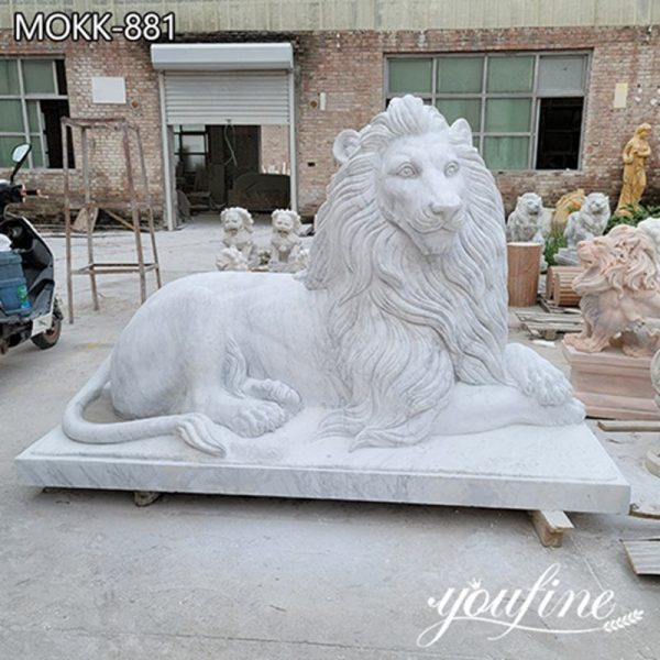 Hand Carved White Marble Lion Statue Outdoor Decor for Sale MOKK-881