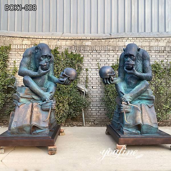 Large Bronze Darwin Ape Statue Garden Decor