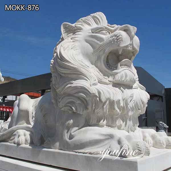Large White Marble Outdoor Lion Statues Gate Decor
