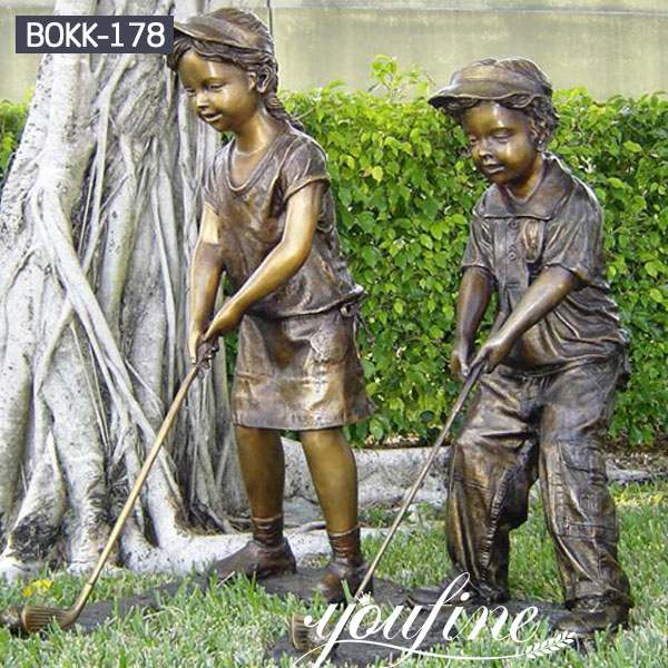 Life Size Bronze Golf Kids Statue Garden Decor for Sale BOKK-178