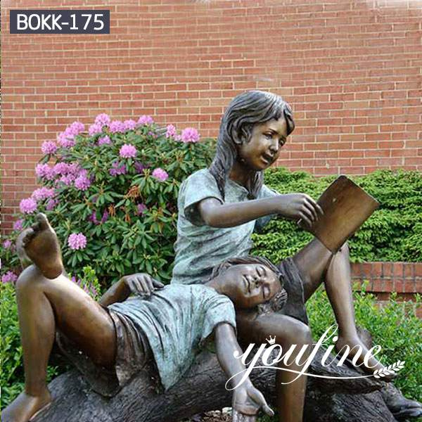 Life Size Bronze girls Statue Reading Book for Sale BOKK-175 (1)
