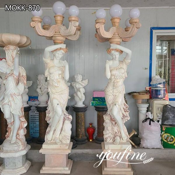 Life Size Marble Lady Lamp Statue Road Decor for Sale
