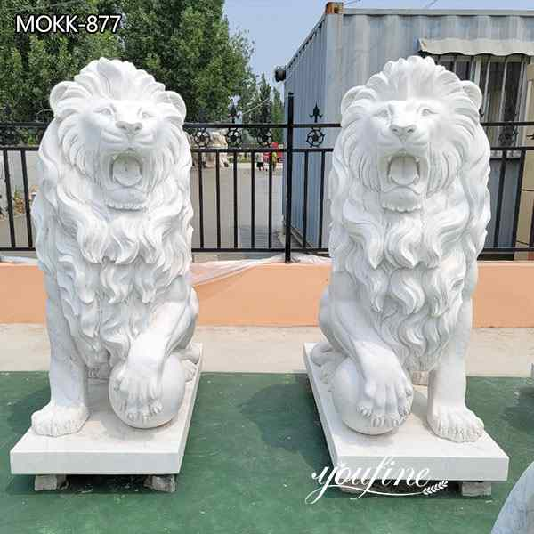 Life Size Natural Marble Lion Statues for Outside for Sale