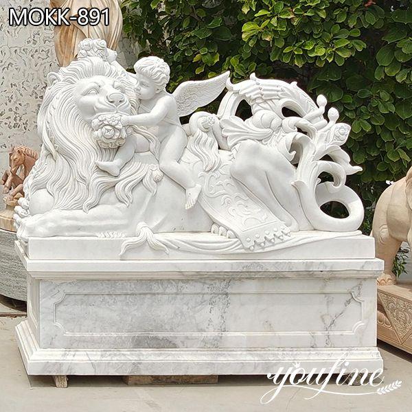 Natural White Marble Lion Statue Outdoor Decor Supplier MOKK-891 (1)