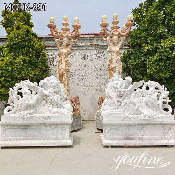 Natural White Marble Lion Statue Outdoor Decor Supplier MOKK-891