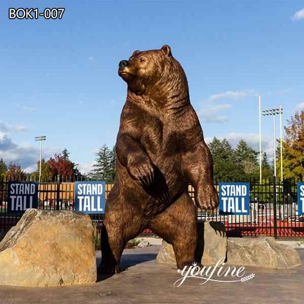 Outdoor Large Bronze Bear Statue Campus Mascot