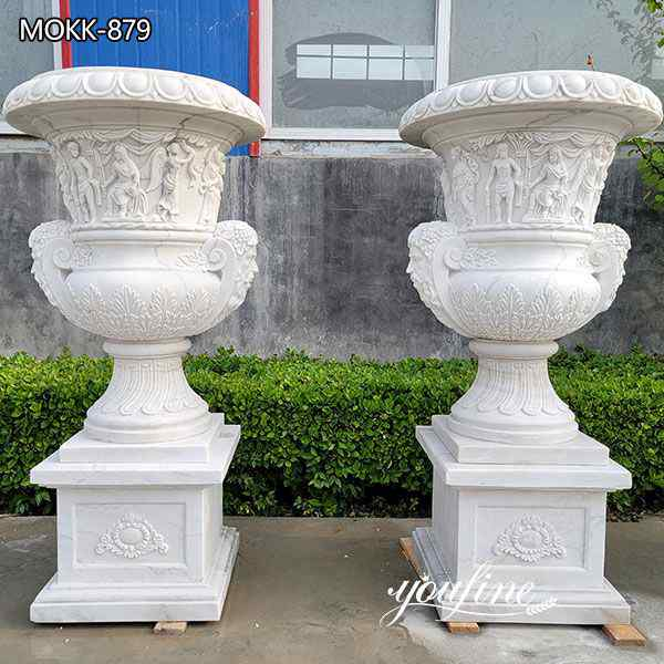 Outdoor Large Marble Flower Pots Residential Decor Suppliers