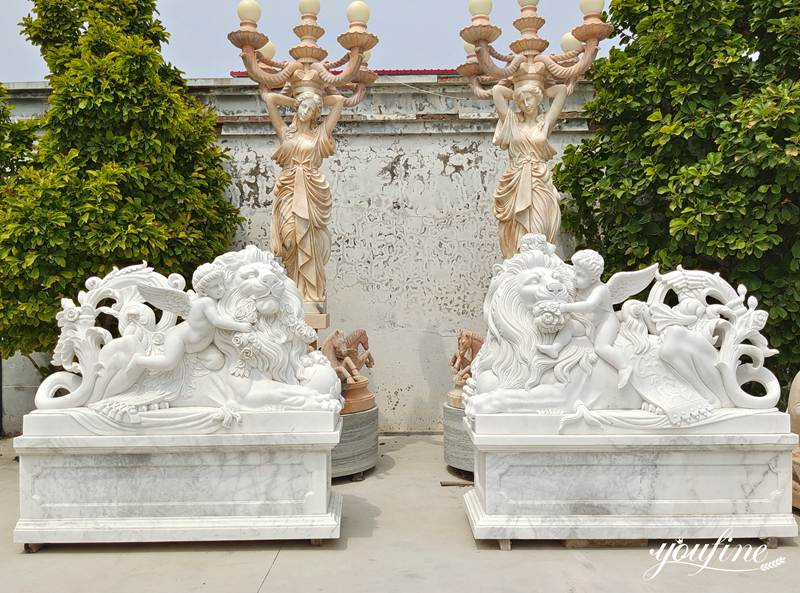 White Marble Lion Statue (1)