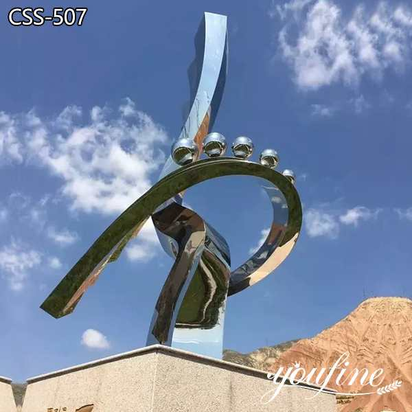 Abstract Polished Stainless Steel Sculpture Plaza Decor Suppliers