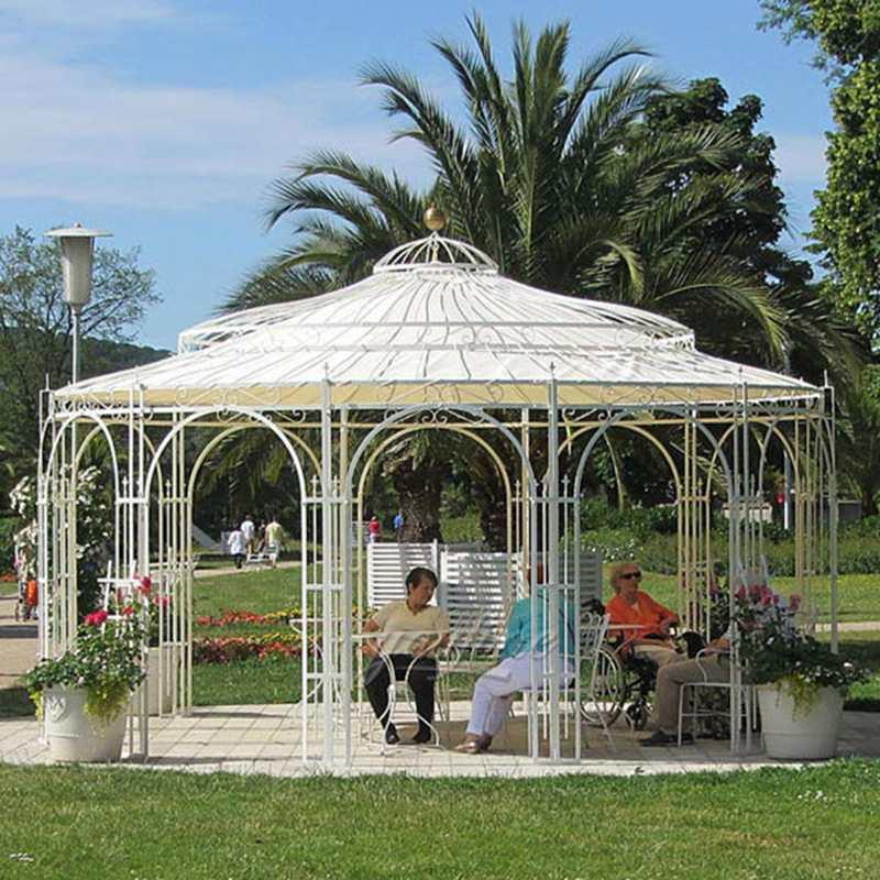 White Wrought Iron Gazebo Wedding Garden Decor for Sale IOK-108
