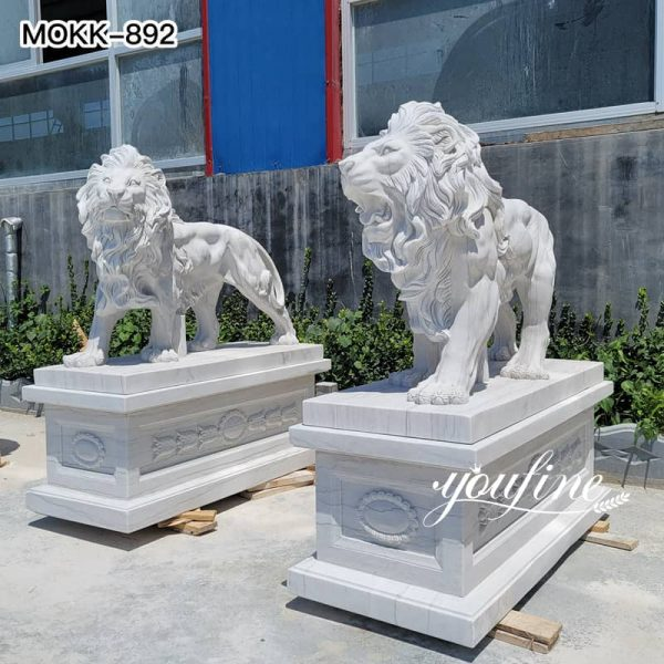 Marble Life Size Lion Statue Outside House for Sale MOKK-892 (3)