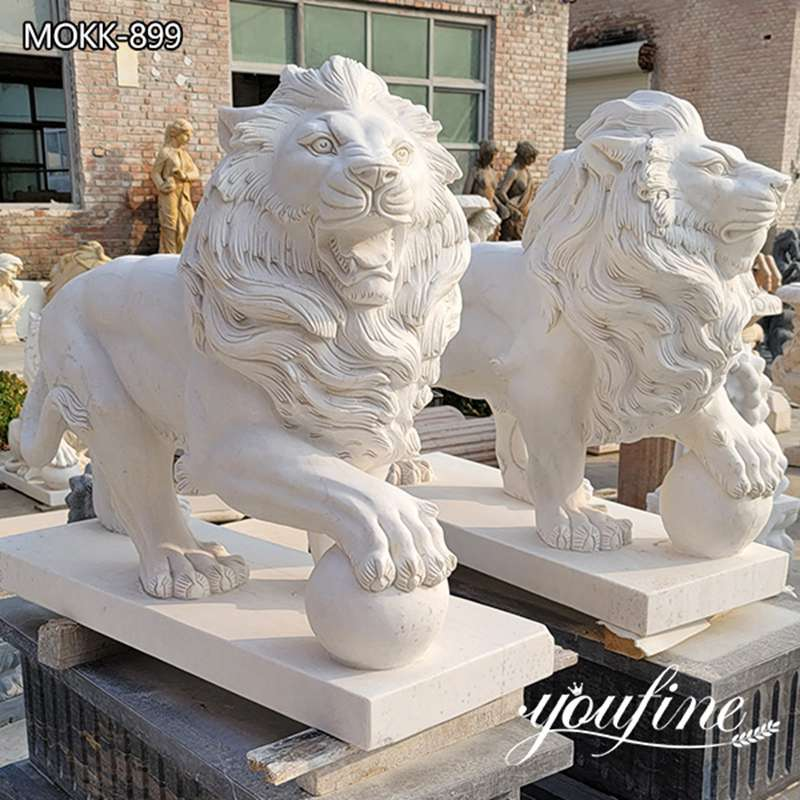 Natural Marble White Lion Statue Pair for Front Porch for Sale MOKK-899