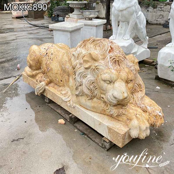 Natural Yellow Stone Lion Statue Garden Decor for Sale MOKK-890 (1)
