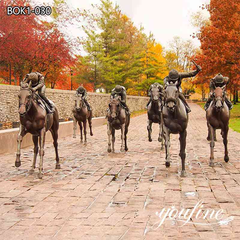 Thoroughbred Park Bronze Horse Racing Statues Outdoor Decor for Sale BOK1-30