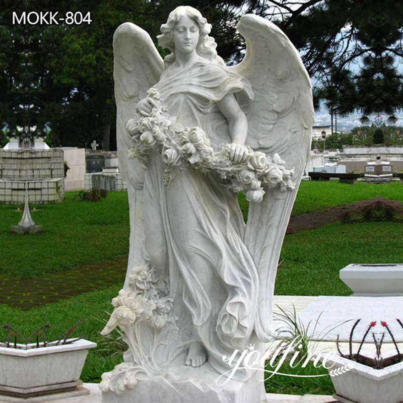 White Marble Outdoor Angel Statue Garden Decor Manufacturer MOKK-804