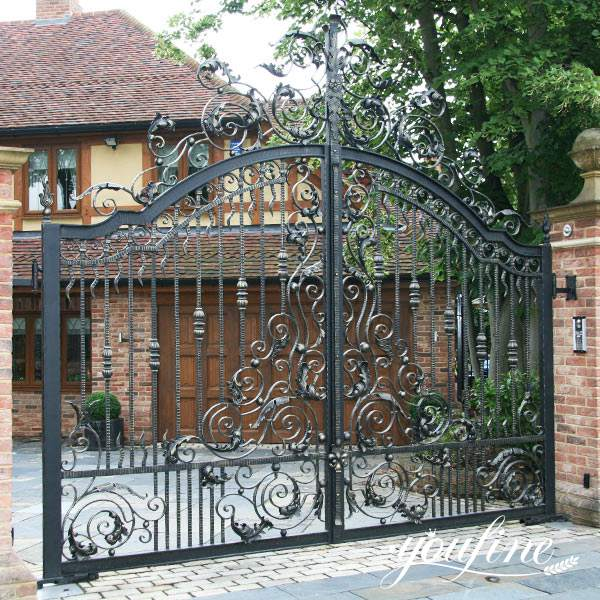 Customized Wrought Iron Driveway Gate Home Decor for Sale IOK-197